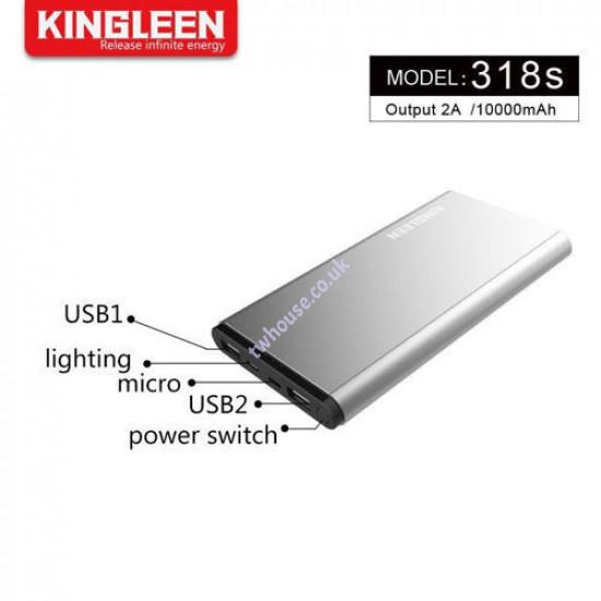 318S 10000mAh Super Slim Metalic Power Bank
