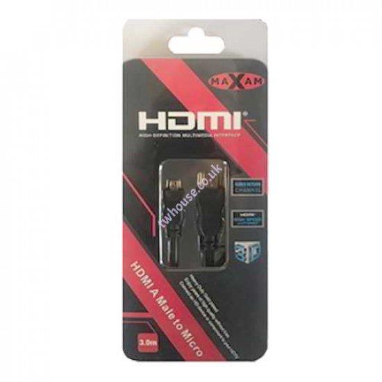 MAXAM 3M HDMI to Micro HDMI M-M Cable