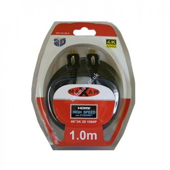 MAXAM 1M HDMI to HDMI Cable Blister Pack