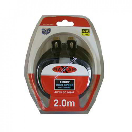 MAXAM 2M HDMI to HDMI Cable Blister Pack