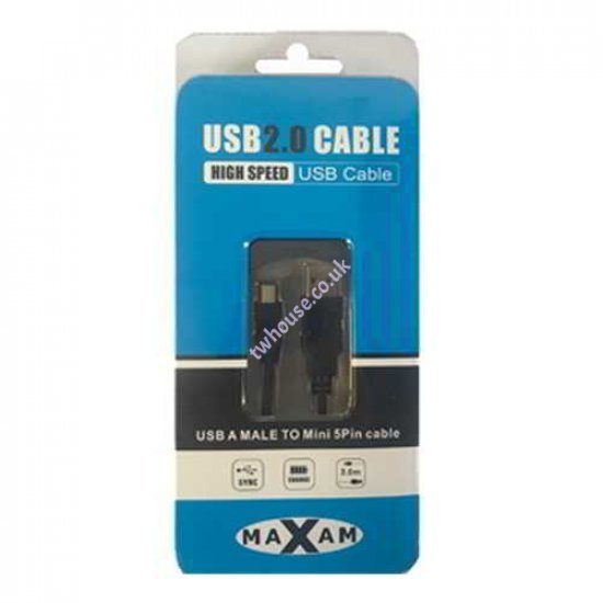 MAXAM USB 2.0 A Male - Mini B 5PIN 3M Cable