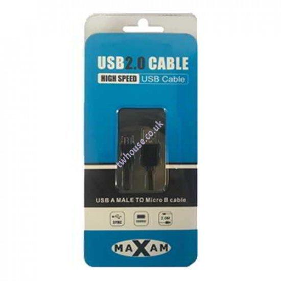 MAXAM USB 2.0 A Male - Micro B Male 2M Cable