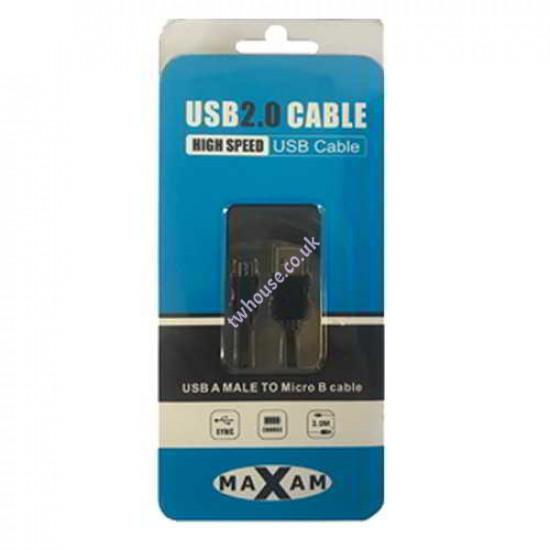 MAXAM USB 2.0 A Male - Micro B Male 3M Cable