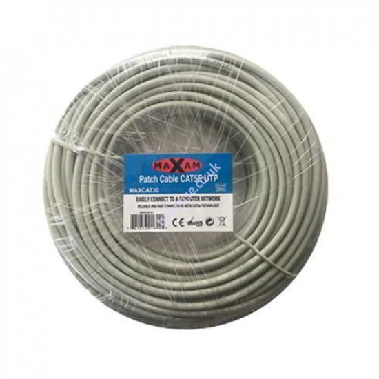 MAXAM Cat5e Moulded 30M Network Patch Lead (Grey)