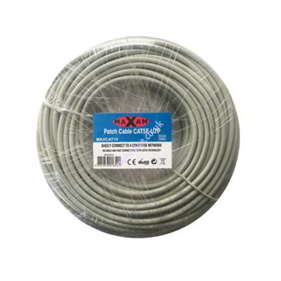 MAXAM Cat5e Moulded 15M Network Patch Lead (Grey)