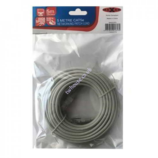 MAXAM Cat5e Moulded 5M Network Patch Lead (Grey)
