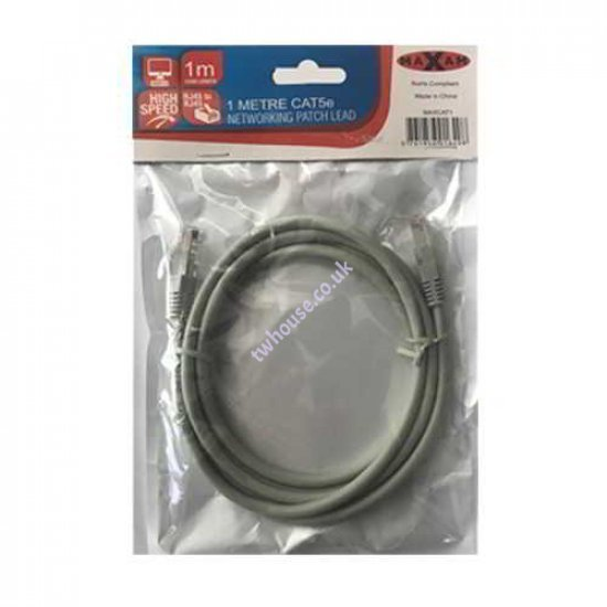 MAXAM Cat5e Moulded 1M Network Patch Lead (Grey)