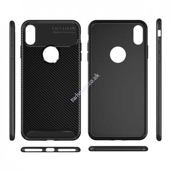 Carbon Fiber Texture Back Cover Case for iPhone X/XS