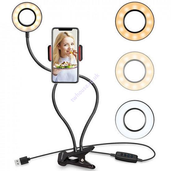 NR9102 Fill Light Clip On LED Selfie Ring Light with Cell Phone Holder