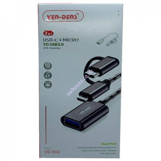 VEN-DENS VD-502 USB-C + Micro to USB 3.0 OTG Connector