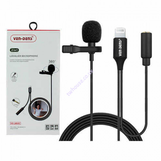 VEN-DENS VD-LM205 2in1 8pin Connector for iPhone to 3.5mm Lavalier Microphone