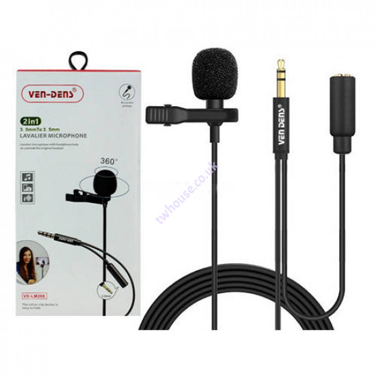 VEN-DENS VD-LM206 2in1 3.5mm to 3.5mm Lavalier Microphone