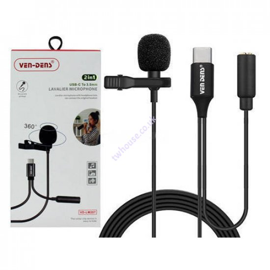 VEN-DENS VD-LM207 2in1 USB-C to 3.5mm Lavalier Microphone