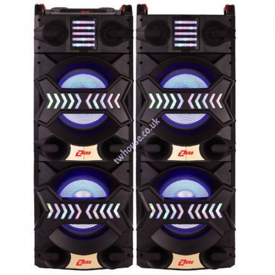 """Zero ZR-10950BLD 10"""" Bluetooth Trolley Double Speaker with Mic & Remote"""