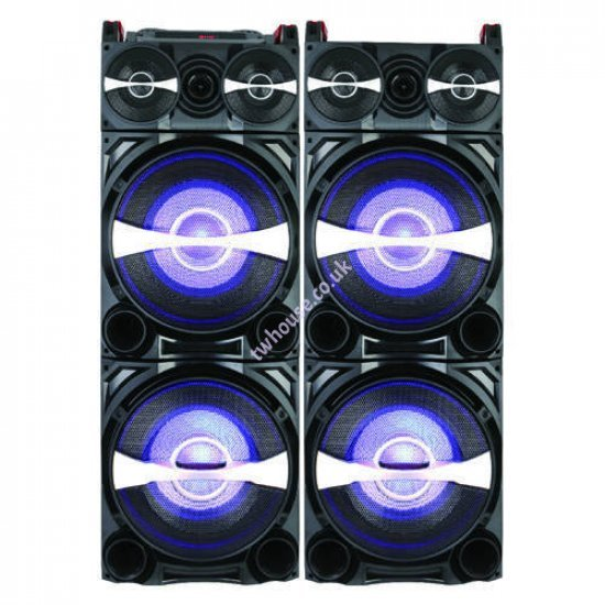 """Zero ZR-10900BLD 10"""" Bluetooth Trolley Double Speaker with Mic & Remote"""
