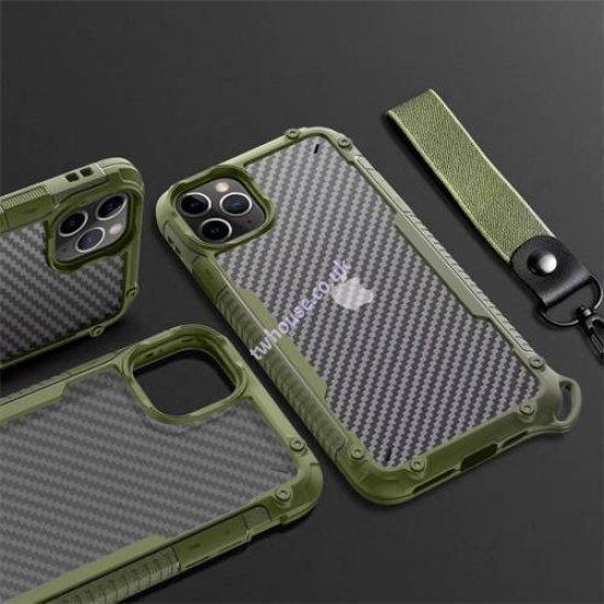 """ZUZU Clear Carbon Fiber Design Armor Case for iPhone 12 Mini (5.4"""")"""