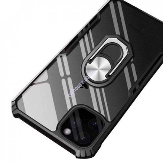 """ZUZU Transparent Shockproof Back Cover Case with Kick Stand for iPhone 12 Mini (5.4"""")"""