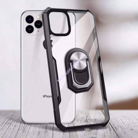 """ZUZU Transparent Shockproof Back Cover Case with Kick Stand for iPhone 12/12 Pro (6.1"""")"""