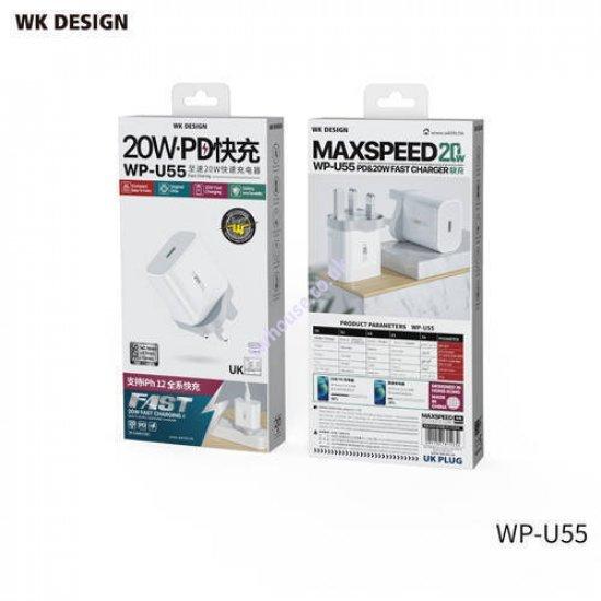 WK Design WP-U55 20W PD USB-C Fast Charger Wall Plug Adaptor