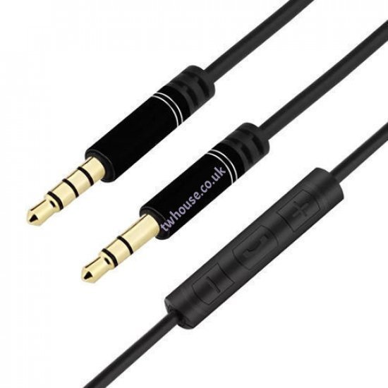 3.5mm Male to Male AUX Cable With Remote (Black)