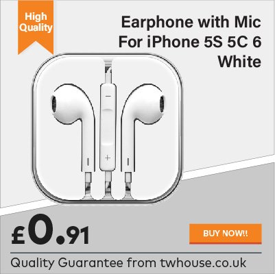 Earphone with Mic for iPhone 5S 5C 6 White for just 91p