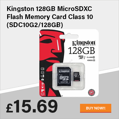 Kingston 128GB MicroSDXC Flash Memory Card Class 10 (SDC10G2/128GB)