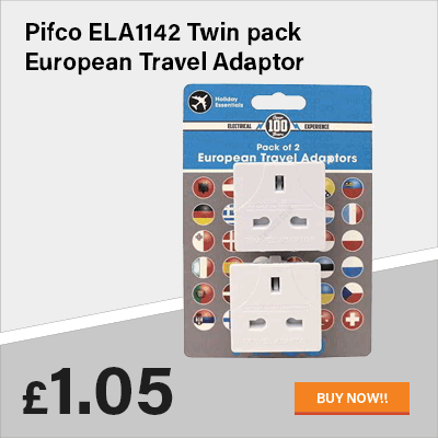 Pifco ELA1142 Twin pack European Travel Adaptor