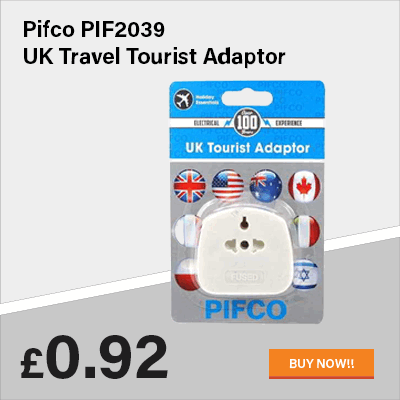 Pifco PIF2039 UK Travel Tourist Adaptor