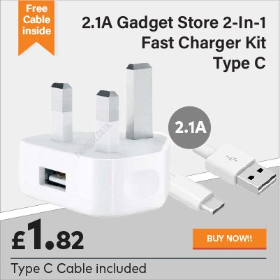 2.1A Gadget Store 2-in-1 Fast Charger Kit Type C for £1.82