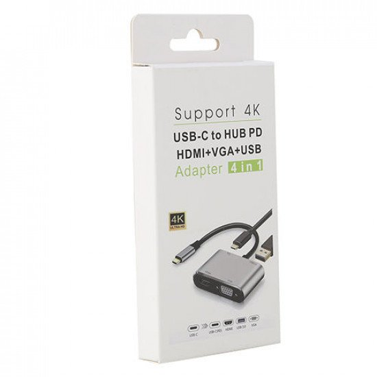 4 in 1 USB-C to HUB PD HDMI+VGA+USB Adapter Cable (Support 4K)
