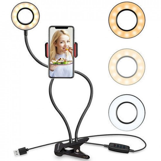 NR9102 Fill Light Clip On LED Selfie Ring Light with Cell Phone Holder