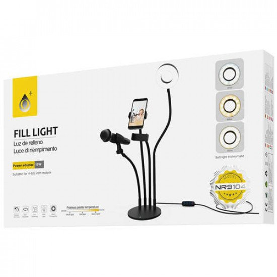 NR9104 Ring Light Stand with Cell Phone and Microphone Holder