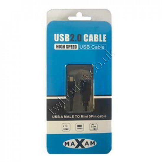MAXAM USB 2.0 A Male - Mini B 5PIN 2M Cable