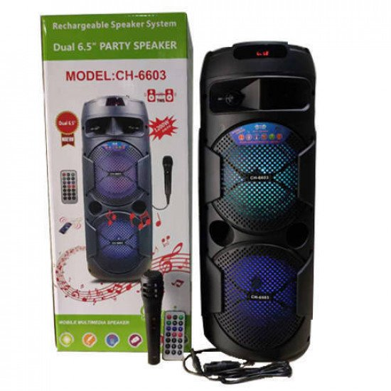 """CH-6603 Dual 6.5"""" Bluetooth Party Speaker with wired Mic & Remote"""