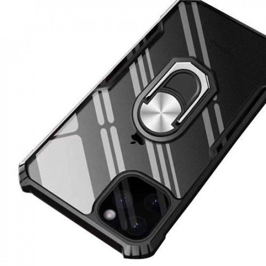 """ZUZU Transparent Shockproof Back Cover Case with Kick Stand for iPhone 12 Pro Max (6.7"""")"""